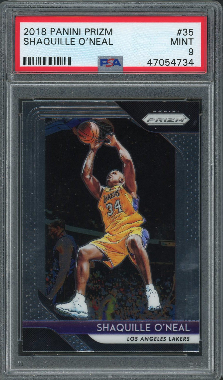 Shaquille O'Neal Los Angeles Lakers 2018 Panini Prizm Basketball Card #35 Graded PSA 9 MINT-Powers Sports Memorabilia