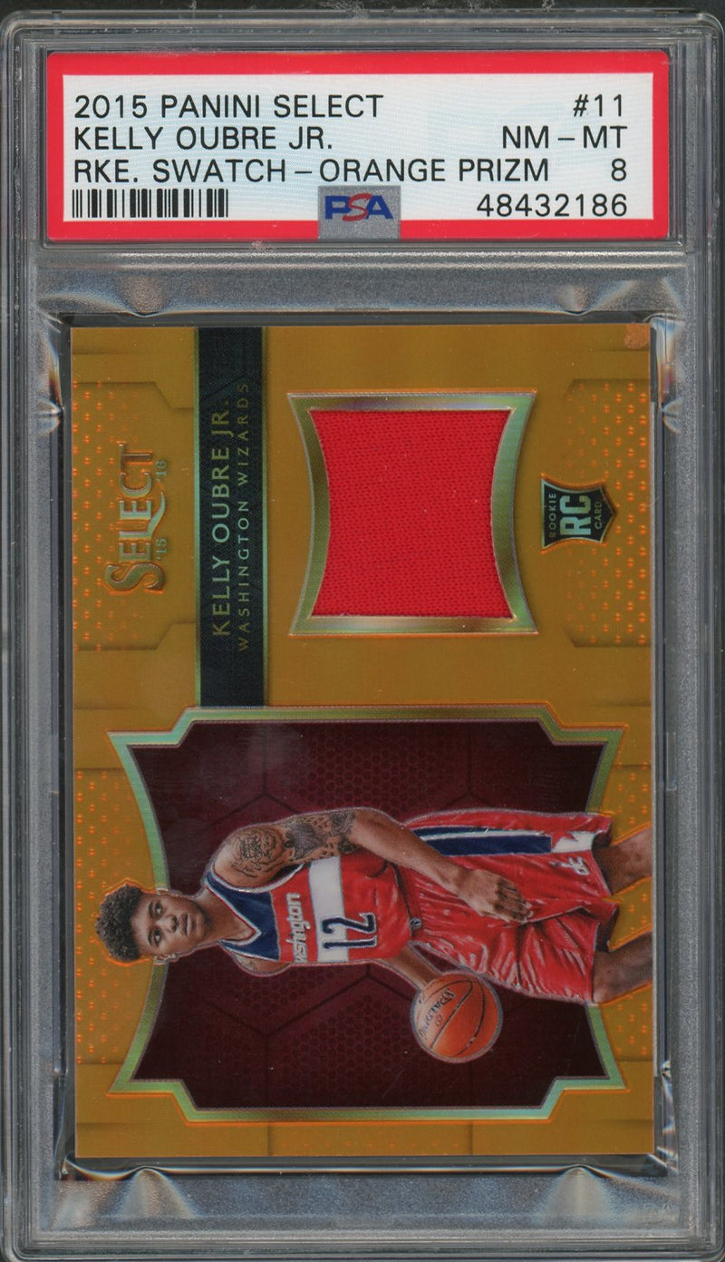 Kelly Oubre Jr Washington Wizards 2015 Panini Select Swatch Orange Prizm Rookie Card #11 Graded PSA 8 33/60-Powers Sports Memorabilia