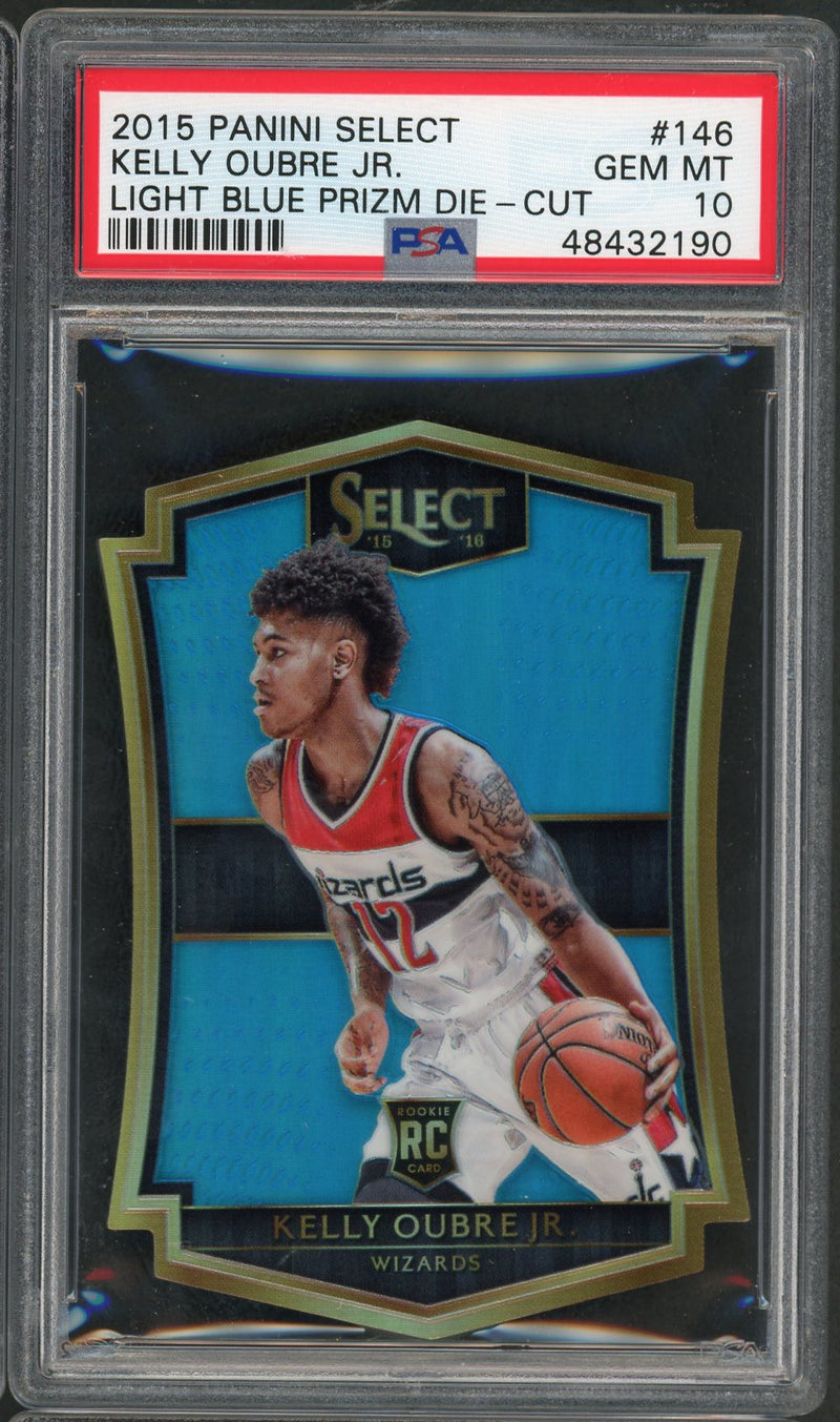 Kelly Oubre Jr Washington Wizards 2015 Panini Select Light Blue Prizm Die Cut Basketball Rookie Card RC #146 Graded PSA 10 GEM MINT 127/199-Powers Sports Memorabilia