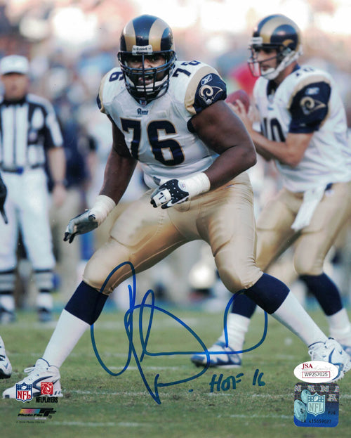 Orlando Pace Autographed St. Louis Rams 8x10 Photo HOF JSA PSM-Powers Sports Memorabilia