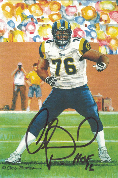 Orlando Pace Autographed St Louis Rams Goal Line Art Card Black HOF PSM-Powers Sports Memorabilia