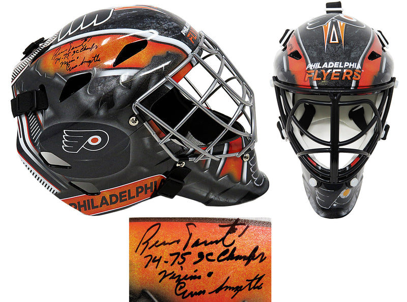 Bernie Parent Signed Philadelphia Flyers Replica Hockey Goalie Mask w/74-75 Champs, Vezina, Conn Smythe PSM-Powers Sports Memorabilia
