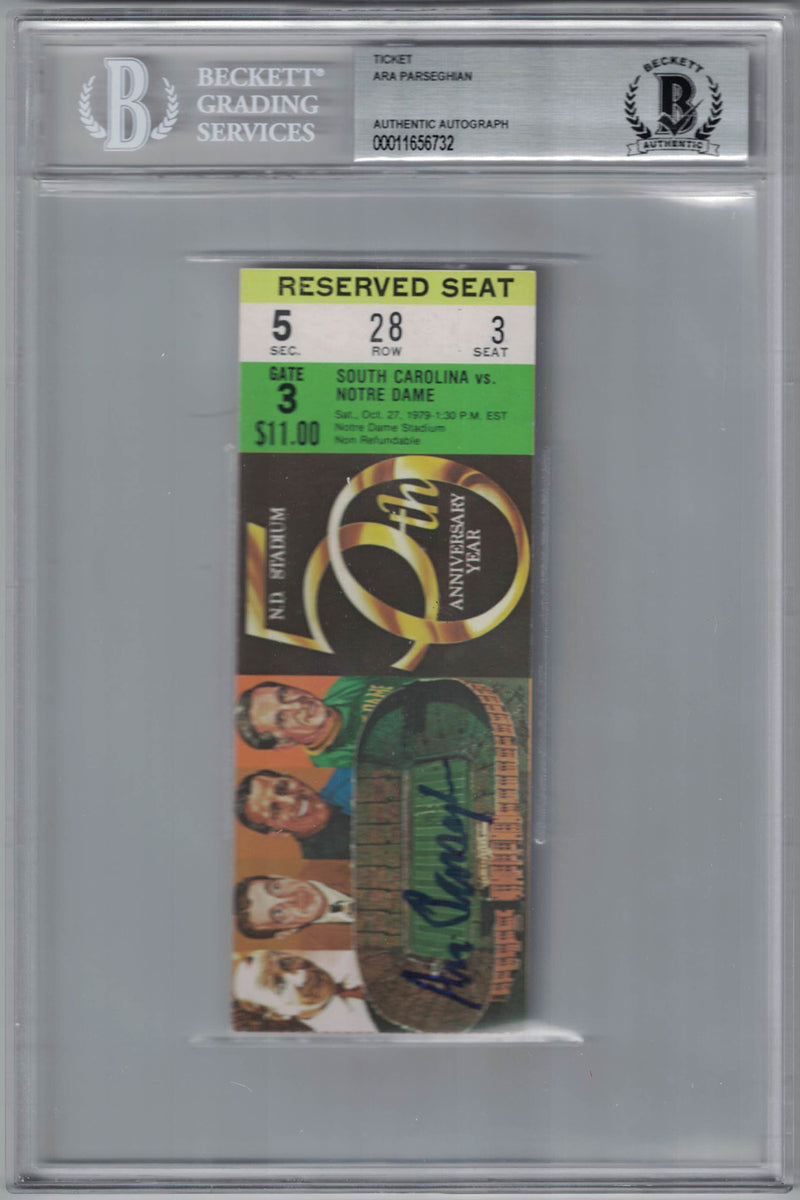 Ara Parseghian Signed Notre Dame Fighting Irish Ticket 50th Year BAS Slab PSM-Powers Sports Memorabilia