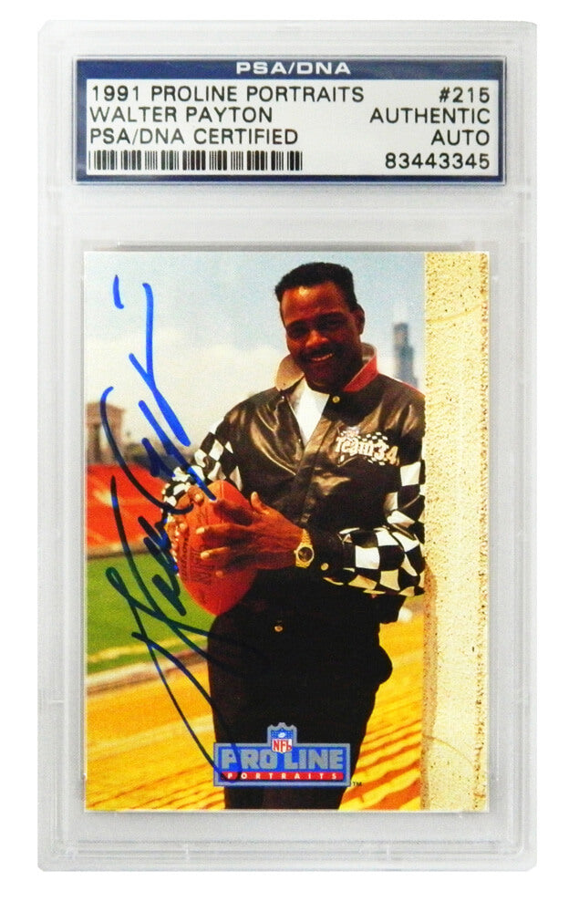 Walter Payton Signed Chicago Bears 1991 Proline Portaits NFL Trading Card #215 - (PSA Encapsulated) PSM-Powers Sports Memorabilia