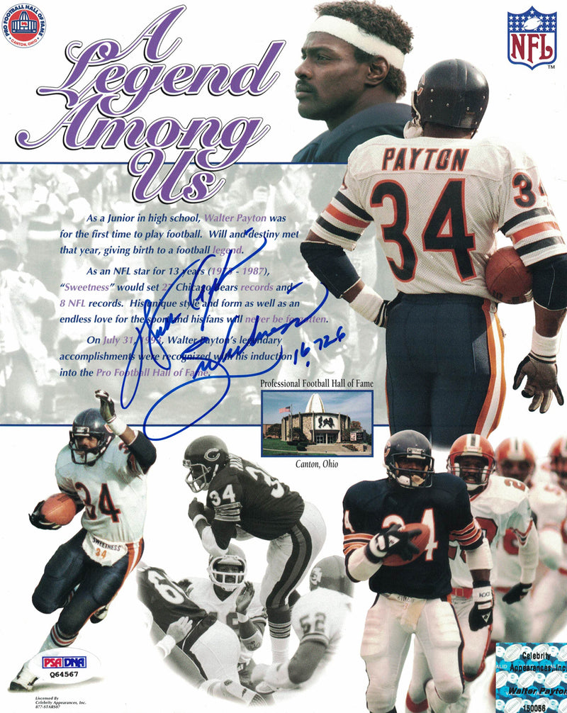 Walter Payton Autographed Chicago Bears 8x10 Photo Sweetness 16,726 PSA PSM-Powers Sports Memorabilia