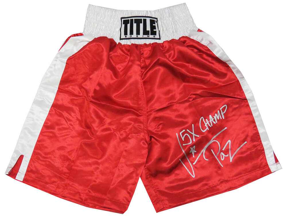 Vinny 'Paz' Pazienza Signed Title Red With White Trim Boxing Trunks w/5x Champ PSM-Powers Sports Memorabilia