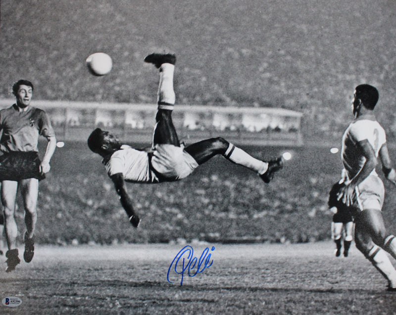 Pele Autographed/Signed Brazil Soccer 16x20 Photo BAS PSM-Powers Sports Memorabilia