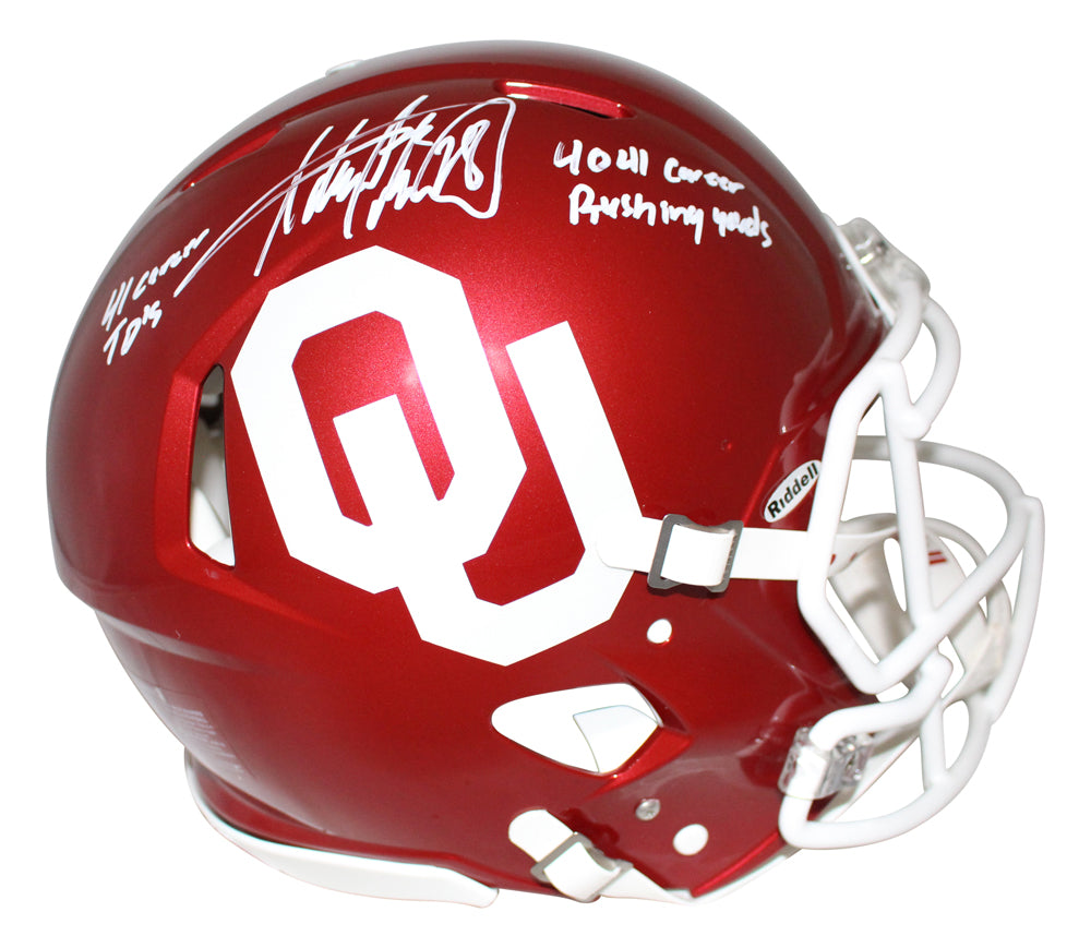 Adrian Peterson Signed Oklahoma Sooners Authentic Speed Helmet 2 Insc BAS PSM-Powers Sports Memorabilia