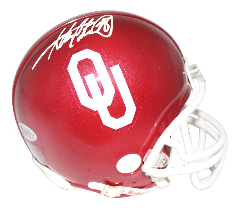 Adrian Peterson Autographed/Signed Oklahoma Sooners Mini Helmet BAS PSM-Powers Sports Memorabilia