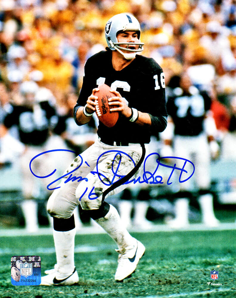 Jim Plunkett Signed Raiders Passing Action 8x10 Photo PSM-Powers Sports Memorabilia