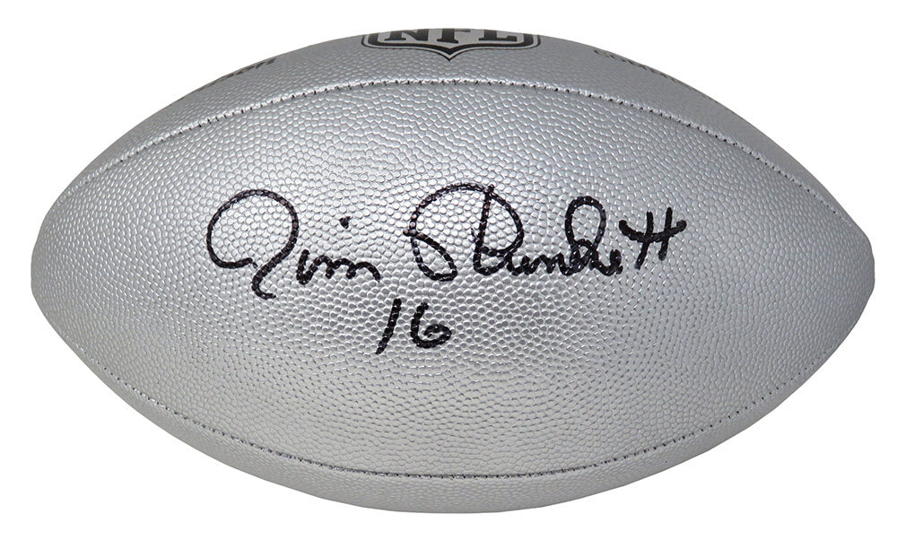 Jim Plunkett Signed Wilson Duke Silver Metallic NFL Full Size Replica Football PSM-Powers Sports Memorabilia