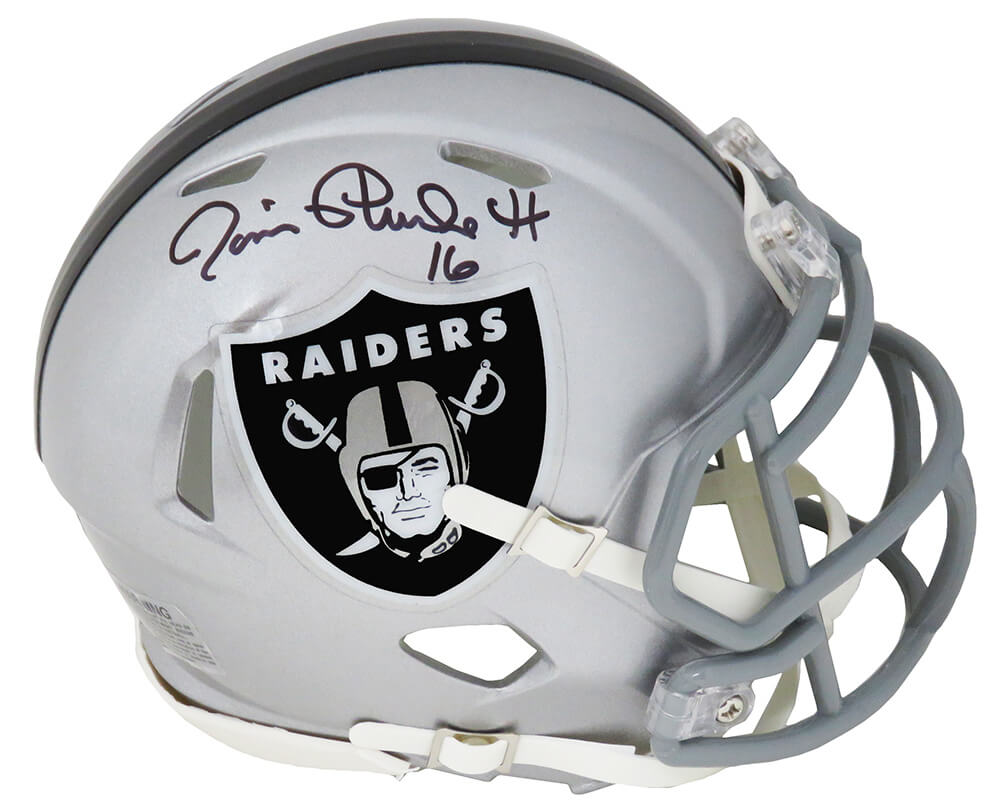 Jim Plunkett Signed Raiders Riddell Speed Mini Helmet PSM-Powers Sports Memorabilia