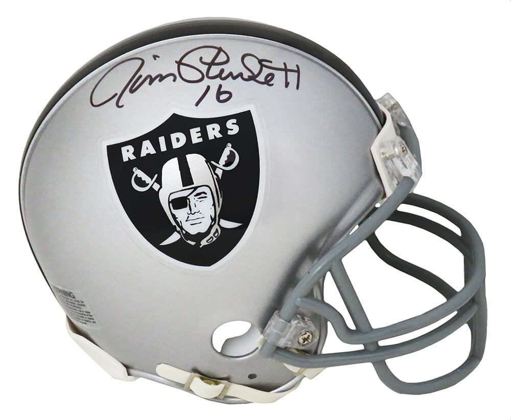 Jim Plunkett Signed Raiders Riddell Mini Helmet PSM-Powers Sports Memorabilia