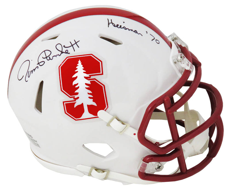 Jim Plunkett Signed Stanford Cardinals Riddell Speed Mini Helmet w/Heisman'70 PSM-Powers Sports Memorabilia
