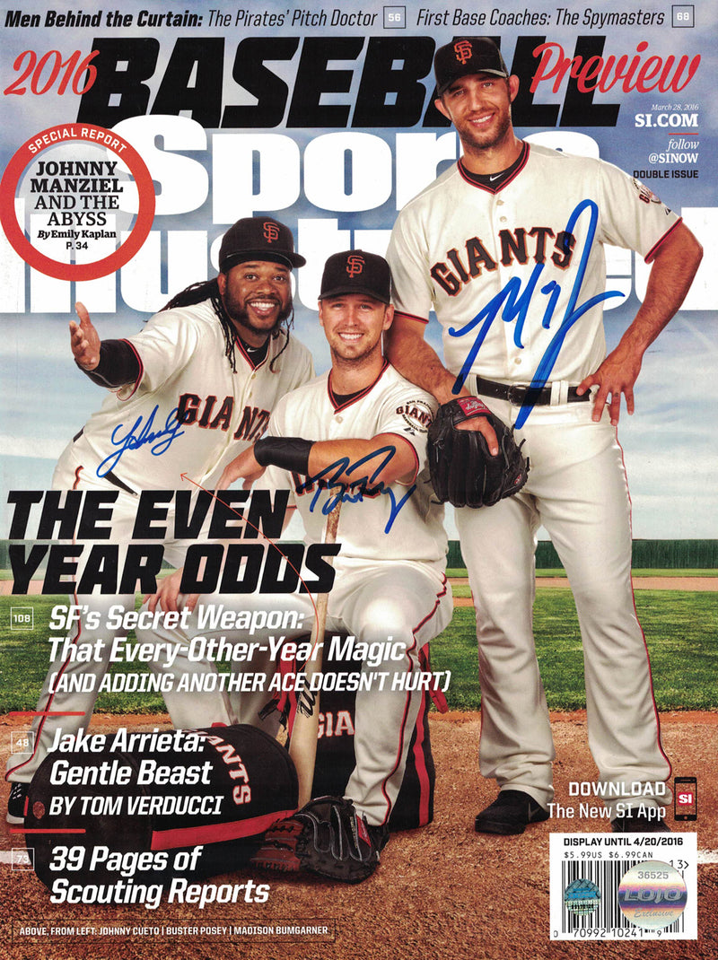 Buster Posey Bumgarner & Cueto Signed SF Giants Sports Illustrated Steiner PSM