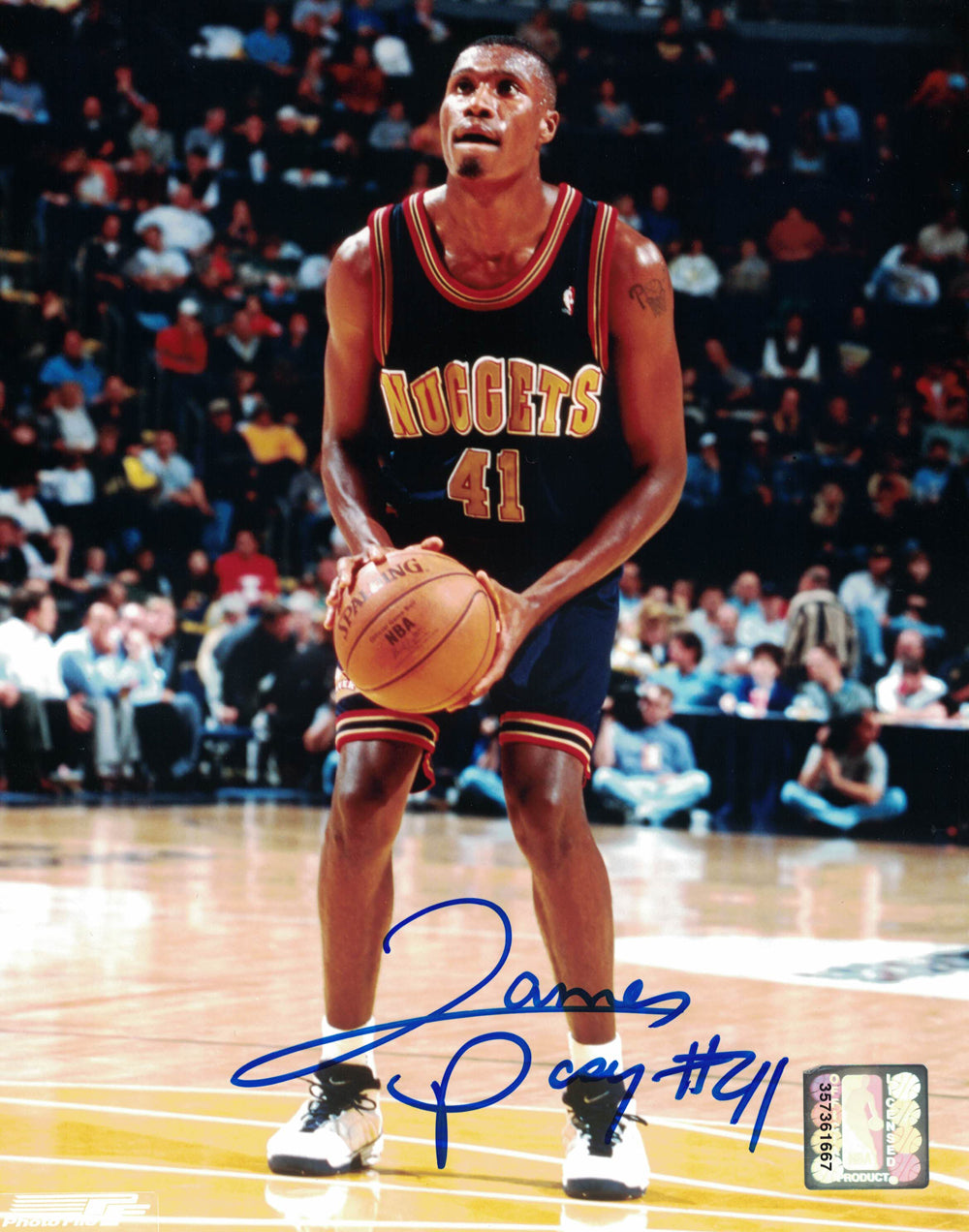 James Posey Autographed/Signed Denver Nuggets 8x10 Photo PF PSM-Powers Sports Memorabilia