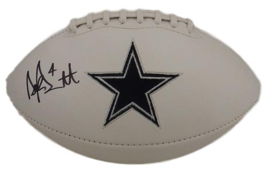 Dak Prescott Autographed Dallas Cowboys White Logo Football JSA PSM-Powers Sports Memorabilia
