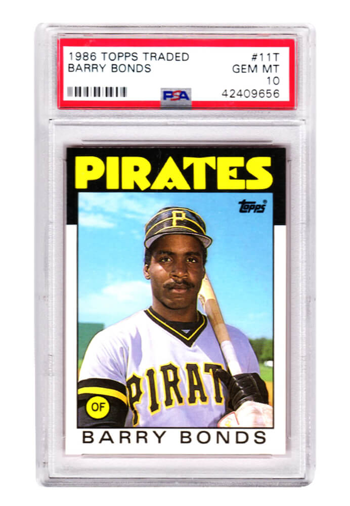 Barry Bonds (Pittsburgh Pirates) 1986 Topps Traded Baseball #11T RC Rookie Card - PSA 10 GEM MINT (New Label) PSM-Powers Sports Memorabilia