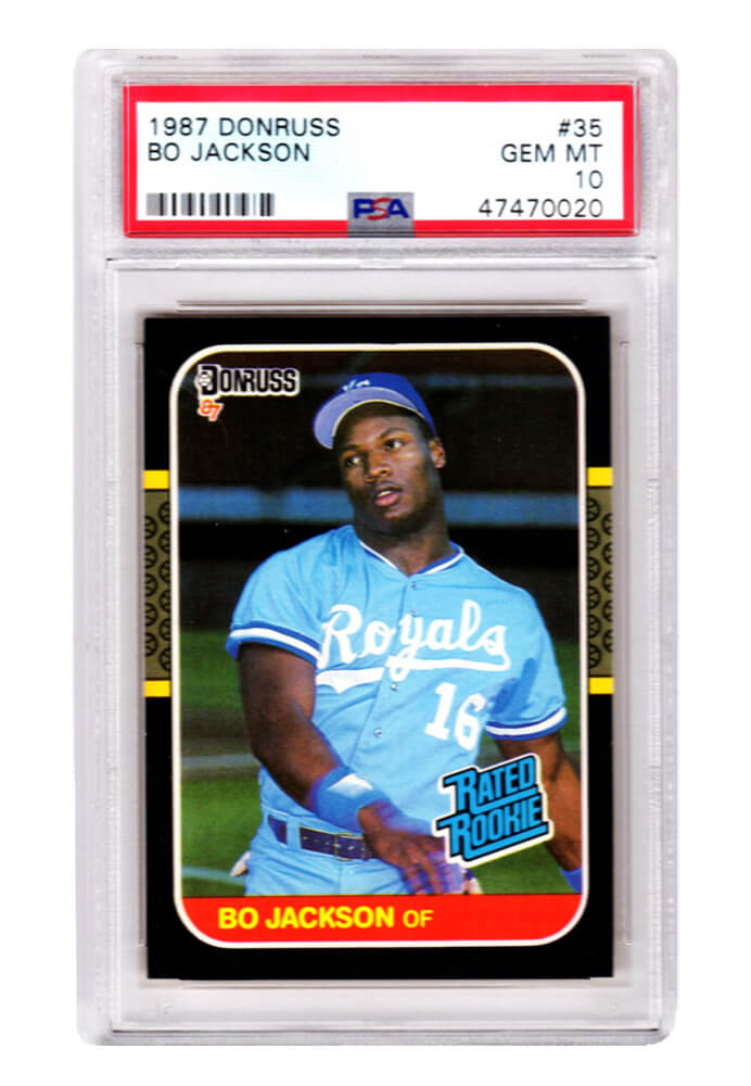Bo Jackson (Kansas City Royals) 1987 Donruss Baseball #35 RC Rated Rookie Card - PSA 10 GEM MINT (New Label) PSM-Powers Sports Memorabilia