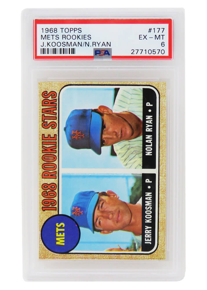 Nolan Ryan / Jerry Koosman (New York Mets) 1968 Topps Baseball #177 RC Rookie Card - PSA 6 (D) PSM-Powers Sports Memorabilia