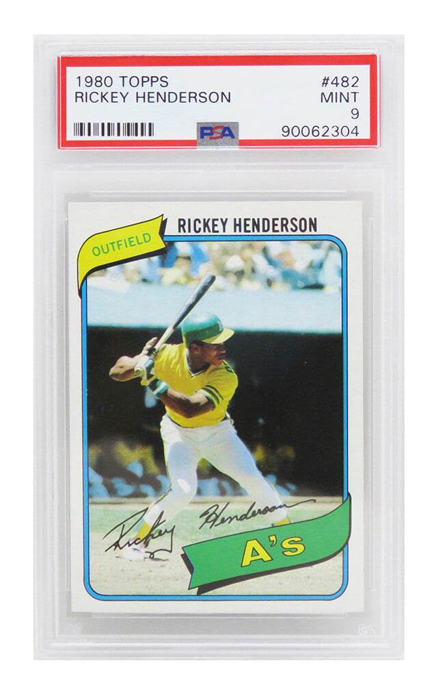 Rickey Henderson (Oakland A's) 1980 Topps Baseball #482 RC Rookie Card - PSA 9 MINT (B) PSM-Powers Sports Memorabilia