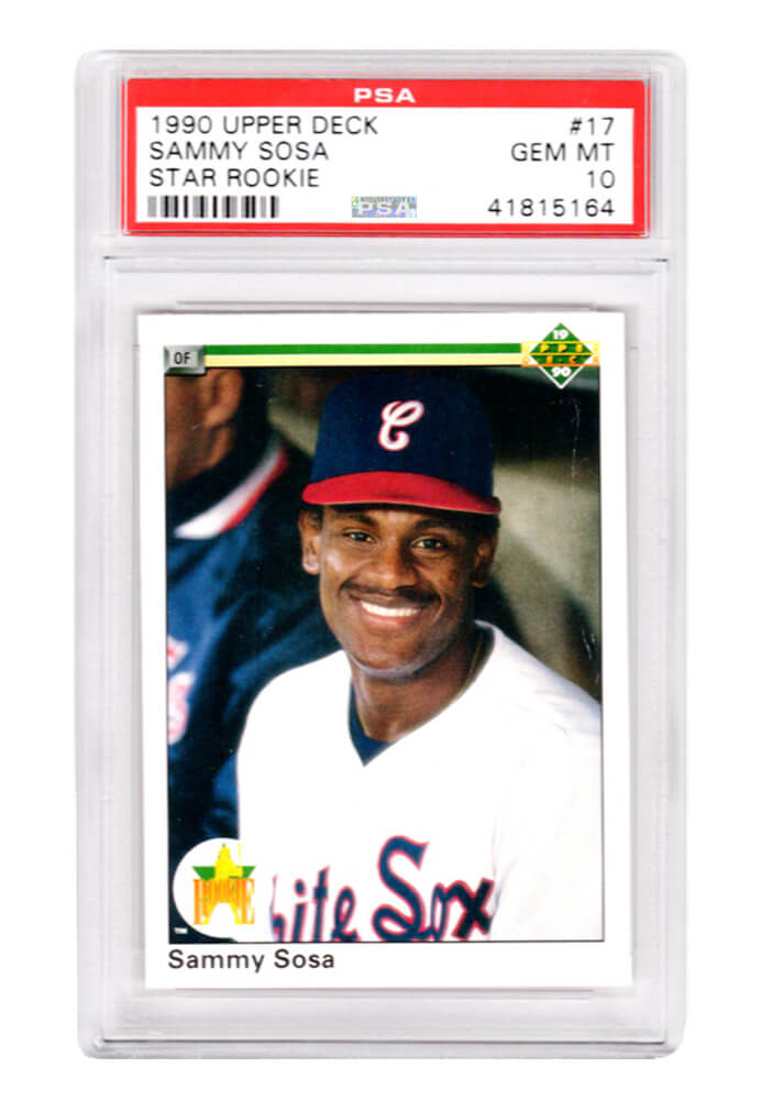 Sammy Sosa (Chicago White Sox) 1990 Upper Deck Baseball #17 RC Rookie Card - PSA 10 GEM MINT (Silver Label) PSM-Powers Sports Memorabilia