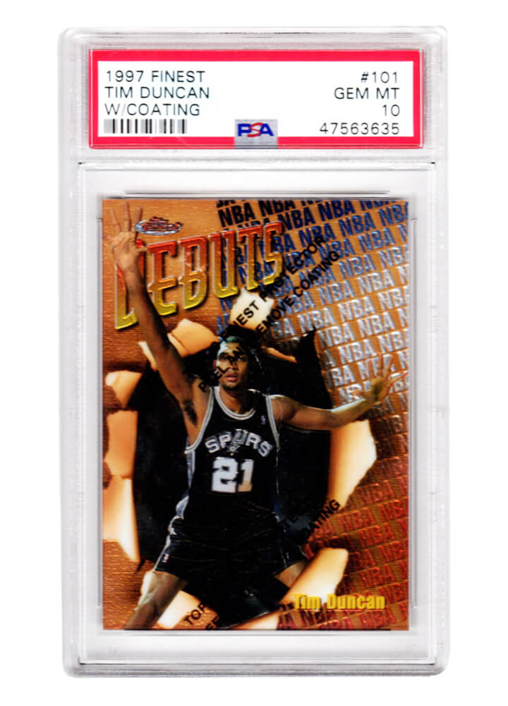 Tim Duncan (San Antonio Spurs) 1997 Topps Finest Basketball #101 RC Rookie Card - PSA 10 GEM MINT w/Coating PSM-Powers Sports Memorabilia