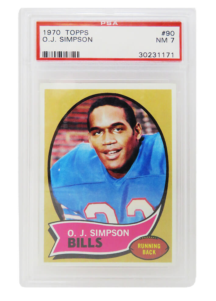 O.J. Simpson (Buffalo Bills) 1970 Topps Football #90 RC Rookie Card - PSA 7 NM (A) PSM-Powers Sports Memorabilia