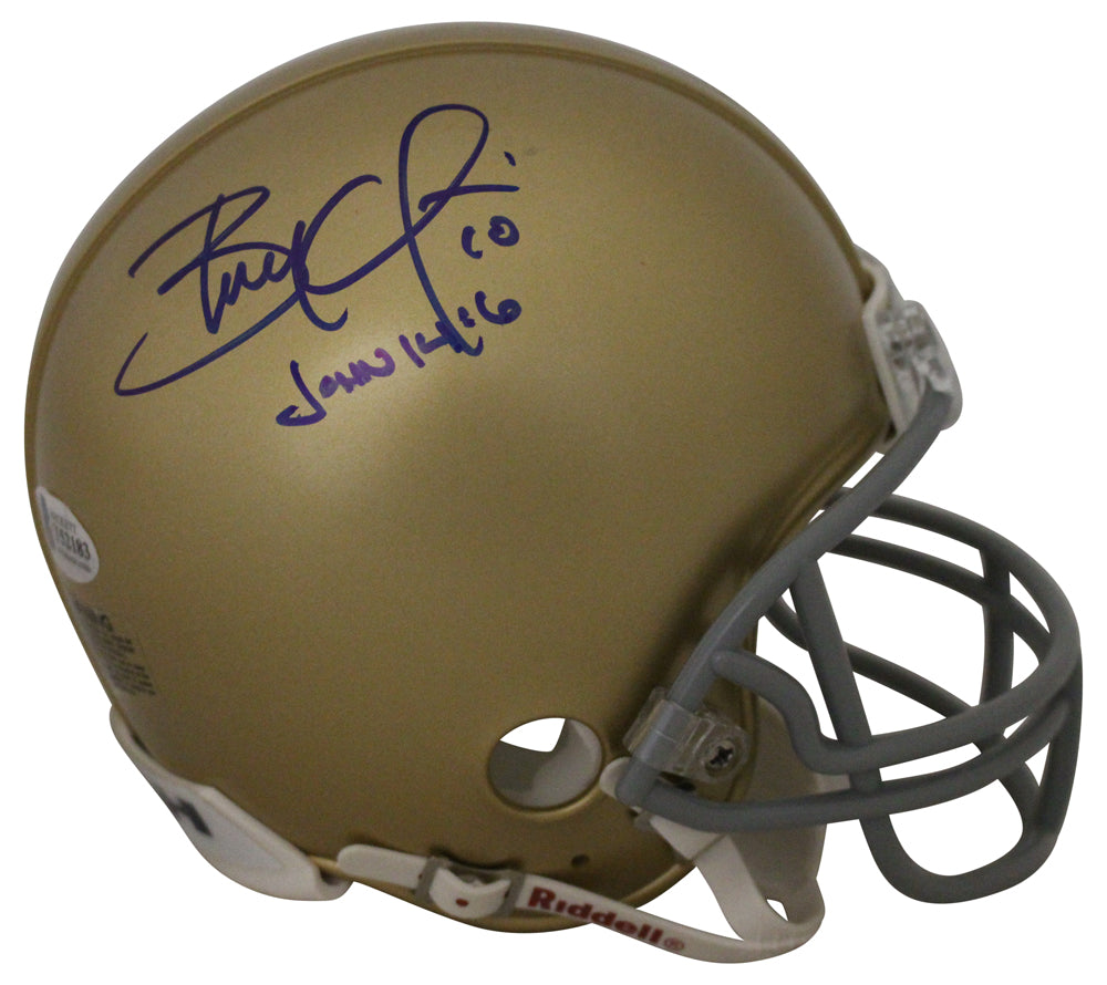 Brady Quinn Autographed Notre Dame Fighting Irish Mini Helmet BAS PSM-Powers Sports Memorabilia