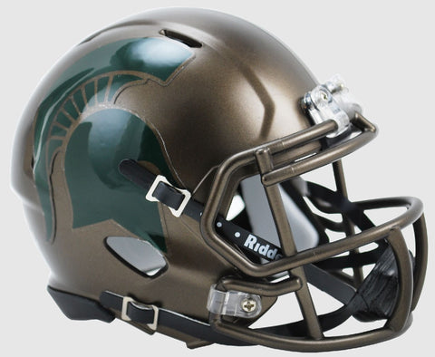 Michigan State Spartans Bronze Riddell Speed Mini Football Helmet PSM-Powers Sports Memorabilia