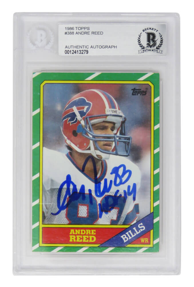 Andre Reed Signed Buffalo Bills 1986 Topps Rookie Card #388 w/HOF'14 - (Beckett Encapsulated) PSM-Powers Sports Memorabilia
