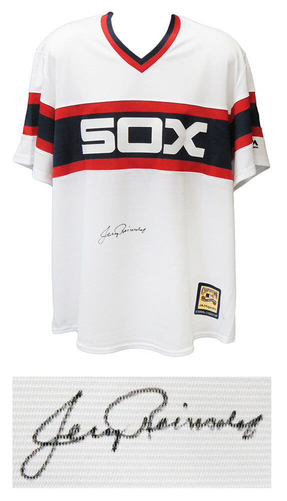 Jerry Reinsdorf Signed Chicago White Sox 1980's Style Throwback Majestic Cooperstown Collection White Jersey PSM-Powers Sports Memorabilia