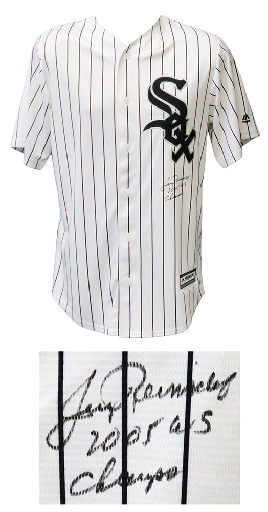 Jerry Reinsdorf Signed Chicago White Sox Majestic White Pinstripe Jersey w/ 2005 WS Champs PSM-Powers Sports Memorabilia