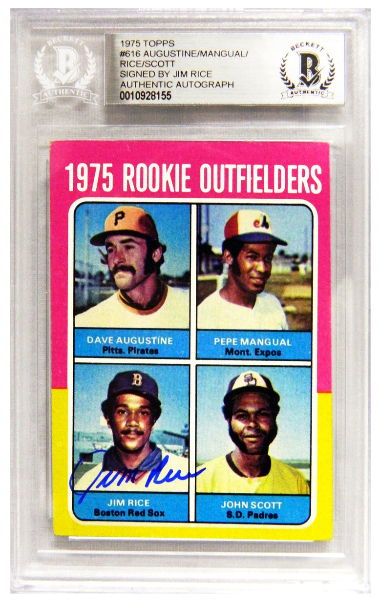 Jim Rice Signed Boston Red Sox 1975 Topps Baseball Rookie Card #616 - (Beckett Encapsulated) PSM-Powers Sports Memorabilia