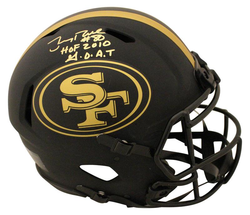 Jerry Rice Signed San Francisco 49ers Authentic Eclipse Helmet 2 Insc BAS PSM-Powers Sports Memorabilia