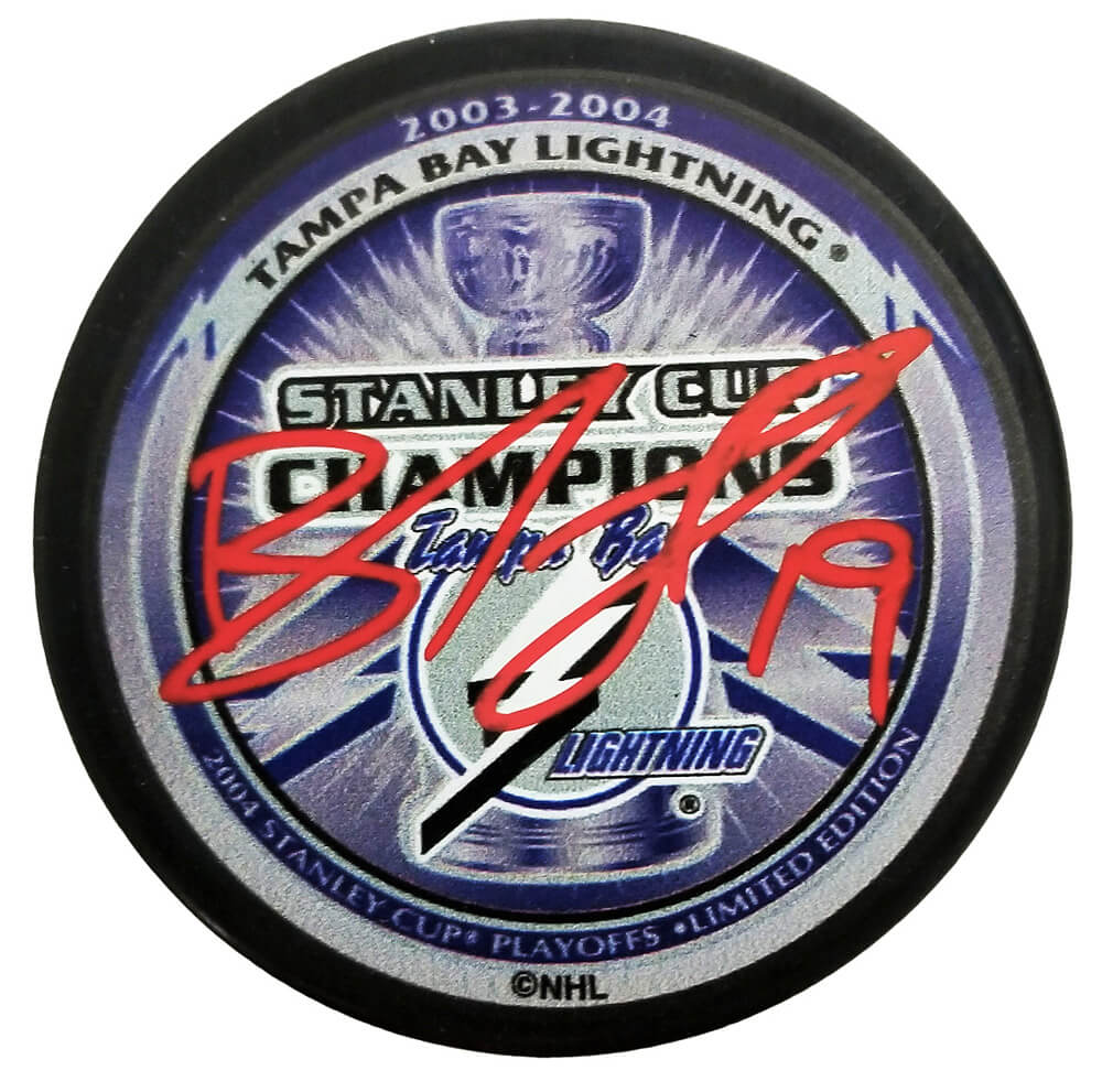 Brad Richards Signed Tampa Bay Lightning 2004 Stanley Cup Champs Logo Hockey Puck PSM-Powers Sports Memorabilia