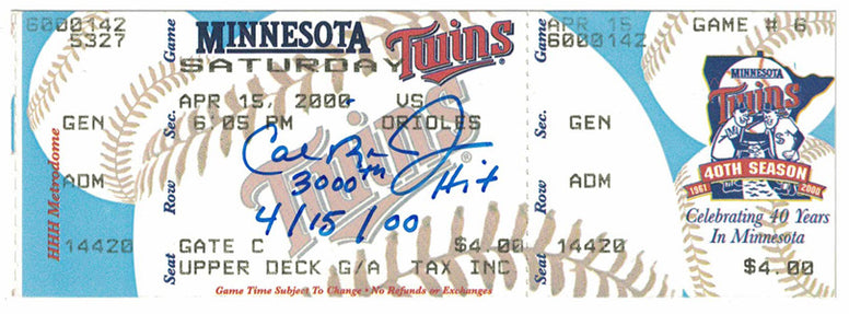 Cal Ripken Jr Autographed 3000th Hit Ticket Stub with Insc JSA PSM-Powers Sports Memorabilia