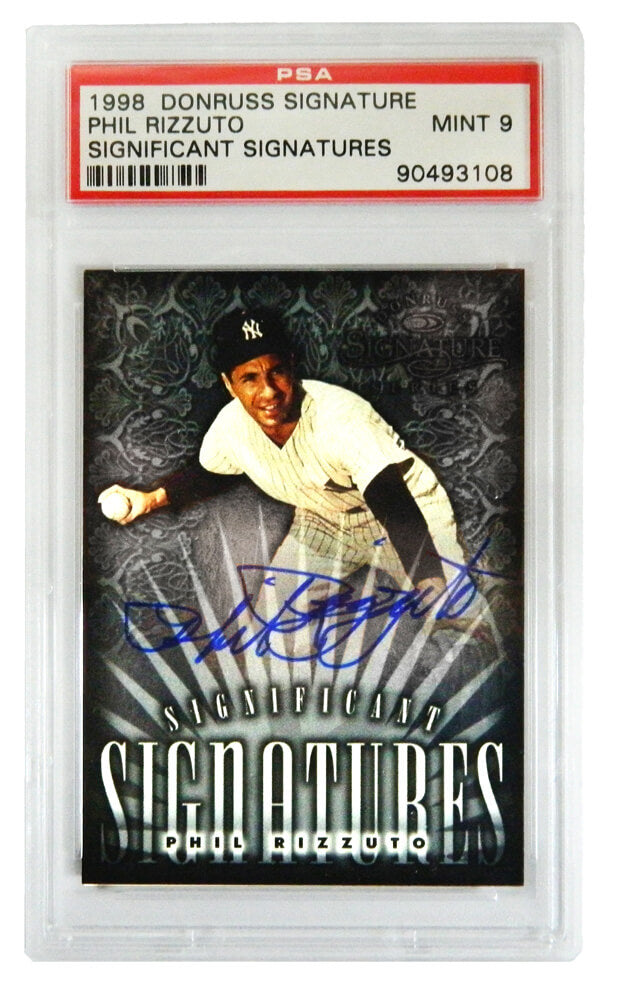 Phil Rizzuto Signed New York Yankees 1998 Donruss Signature Series Trading Card (Mint 9) - (PSA Encapsulated) PSM-Powers Sports Memorabilia