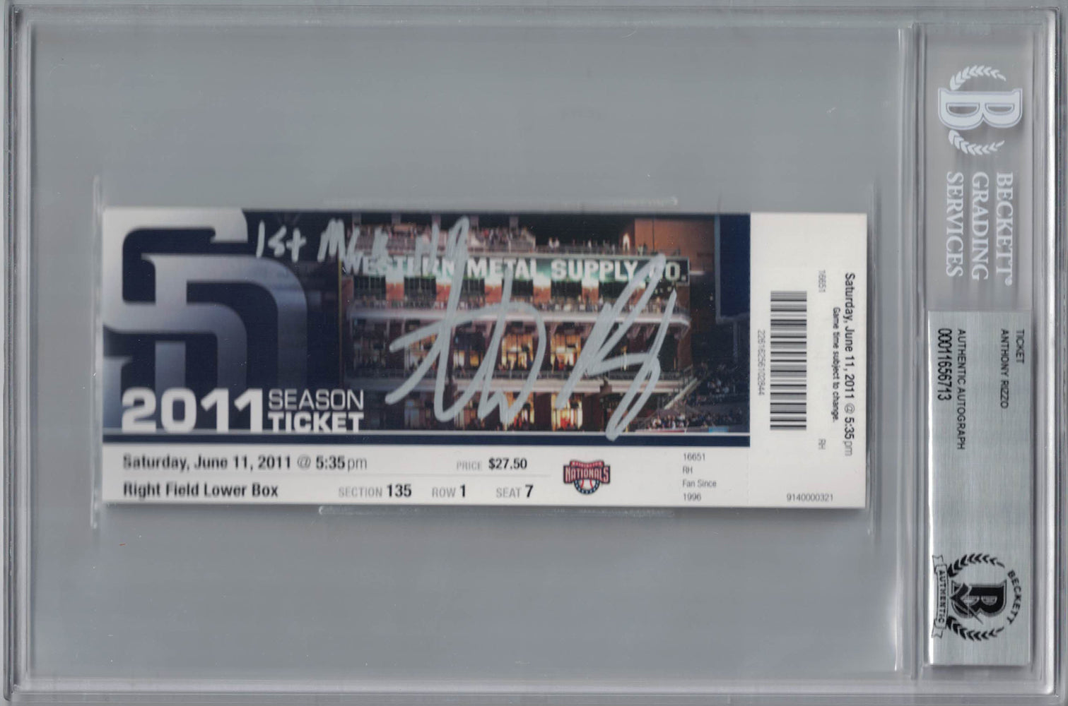 Anthony Rizzo Autographed San Diego Padres Ticket 1st MLB HR BAS Slab PSM-Powers Sports Memorabilia