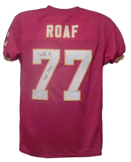Willie Roaf Autographed red size XL jersey w/HOF 2012 Kansas City Chiefs PSM-Powers Sports Memorabilia