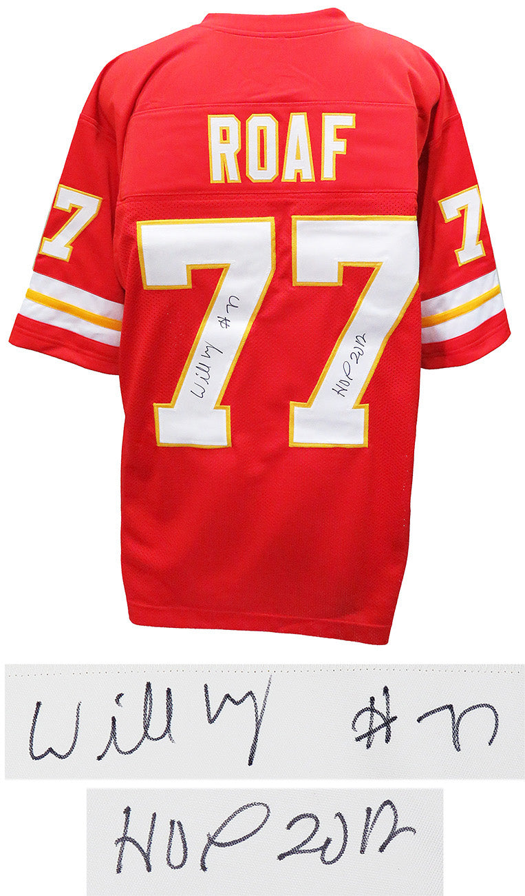 Willie Roaf Signed Red Custom Football Jersey w/HOF 2012 PSM-Powers Sports Memorabilia