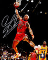 Dennis Rodman Signed Chicago Bulls Rebounding Action 8x10 Photo PSM-Powers Sports Memorabilia