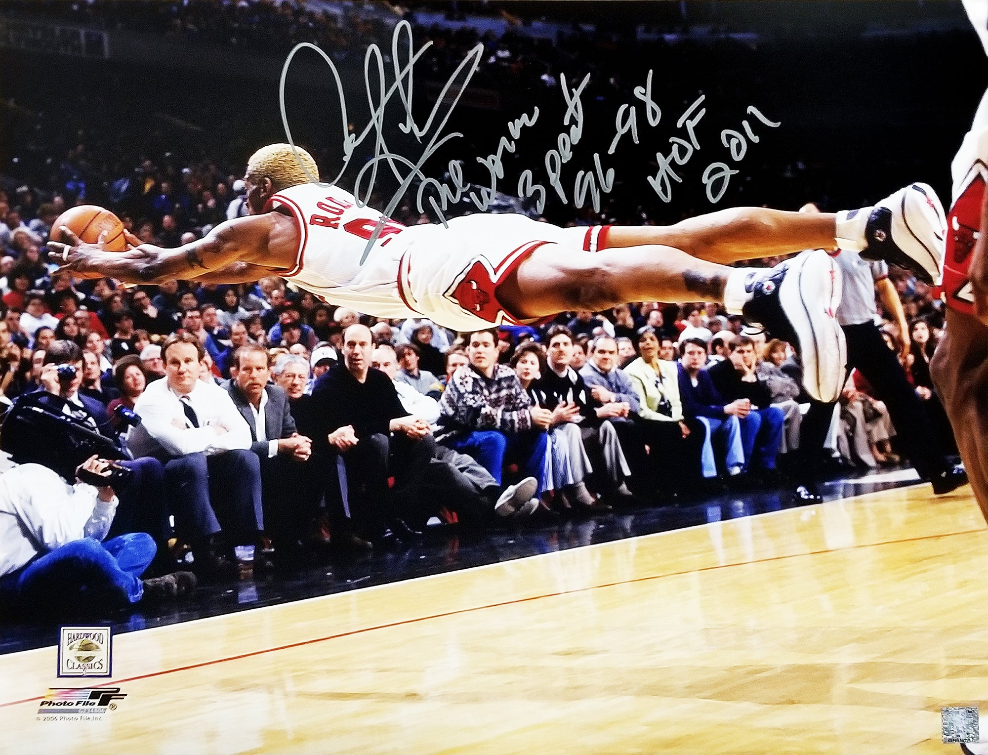 Dennis Rodman Signed Chicago Bulls Diving For Basketball 16x20 Photo w/The Worm, 3 Peat 96-98, HOF 2011 PSM-Powers Sports Memorabilia