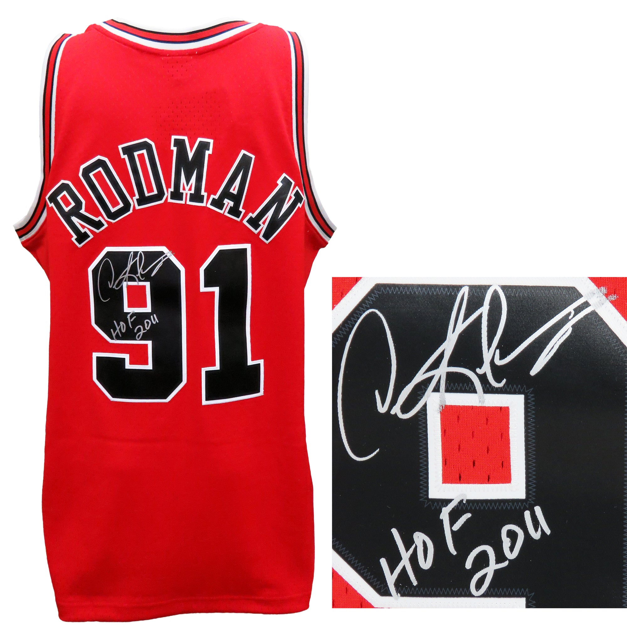 Dennis Rodman Signed Chicago Bulls Red Mitchell & Ness NBA Swingman Basketball Jersey w/HOF 2011 PSM-Powers Sports Memorabilia