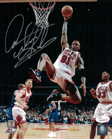 Dennis Rodman Autographed Chicago Bulls 8x10 Photo in Silver JSA PSM-Powers Sports Memorabilia