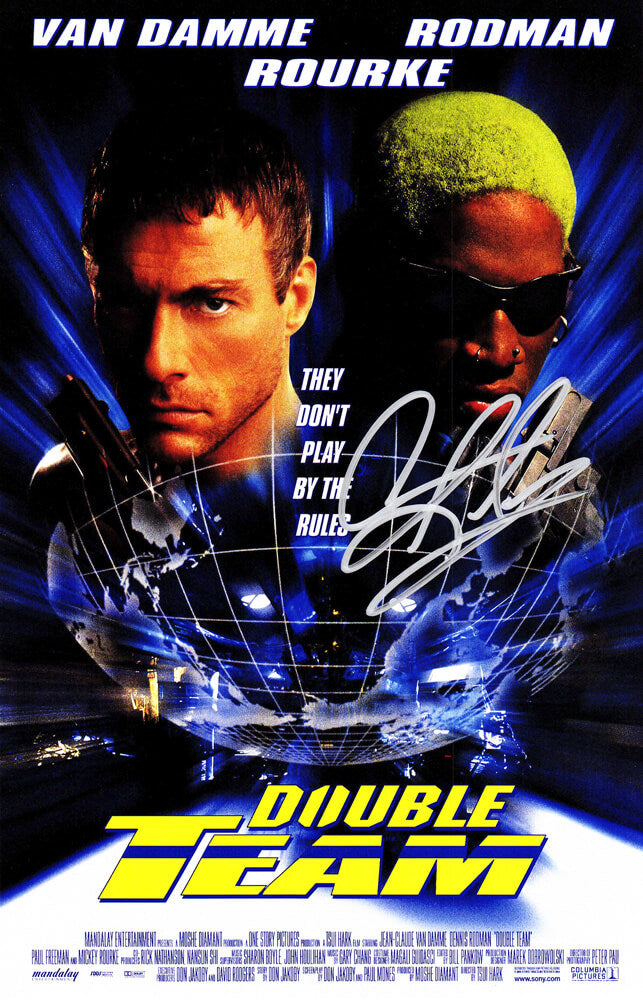 Dennis Rodman Signed Double Team 11x17 Movie Poster PSM-Powers Sports Memorabilia
