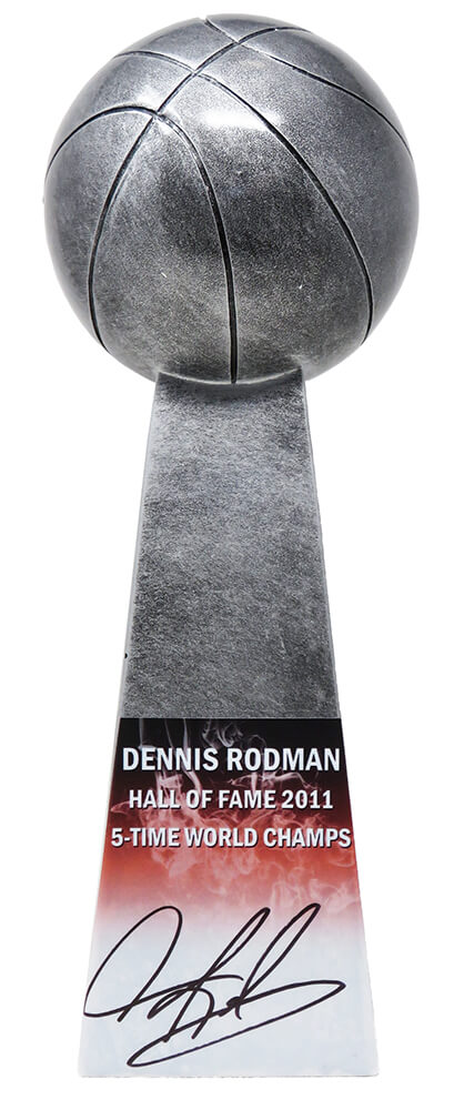 Dennis Rodman Signed Basketball Champion 14 Inch Replica Silver Trophy PSM-Powers Sports Memorabilia
