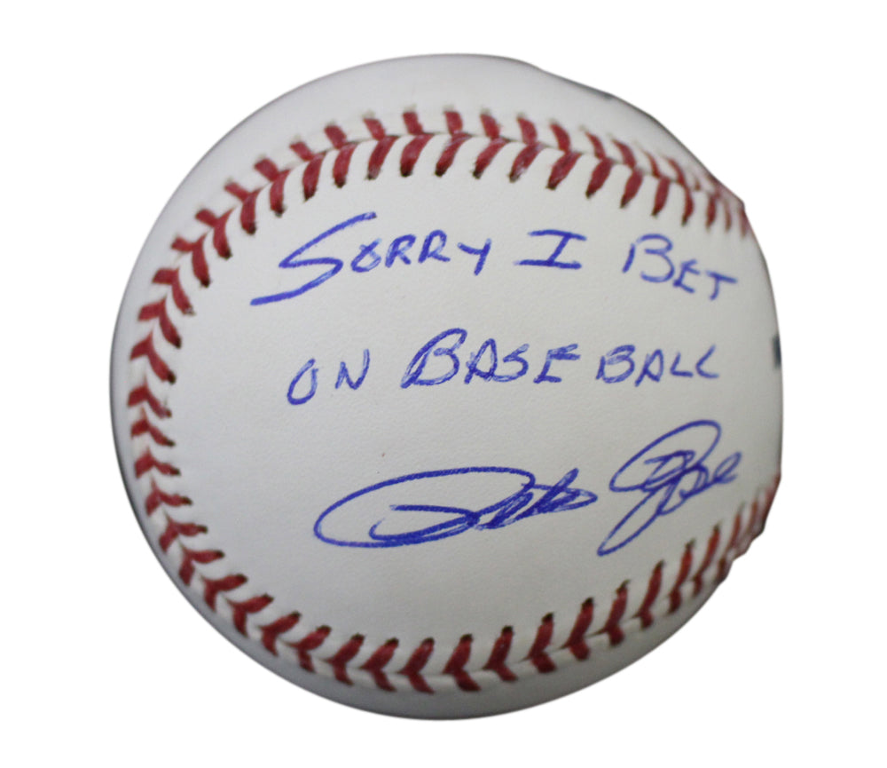 Pete Rose Autographed Cincinnati Reds OML Baseball Sorry I Bet JSA PSM-Powers Sports Memorabilia