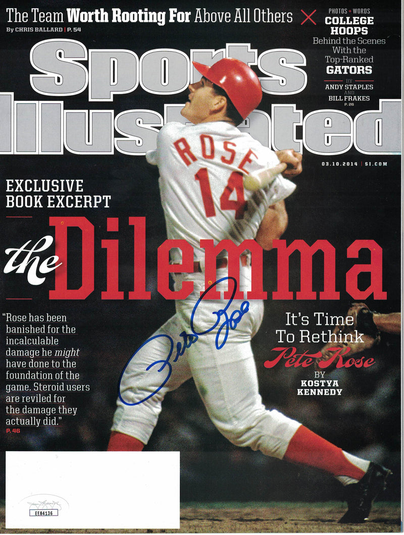 Pete Rose Autographed Cincinnati Reds Sports Illustrated 3/10/2014 JSA PSM-Powers Sports Memorabilia