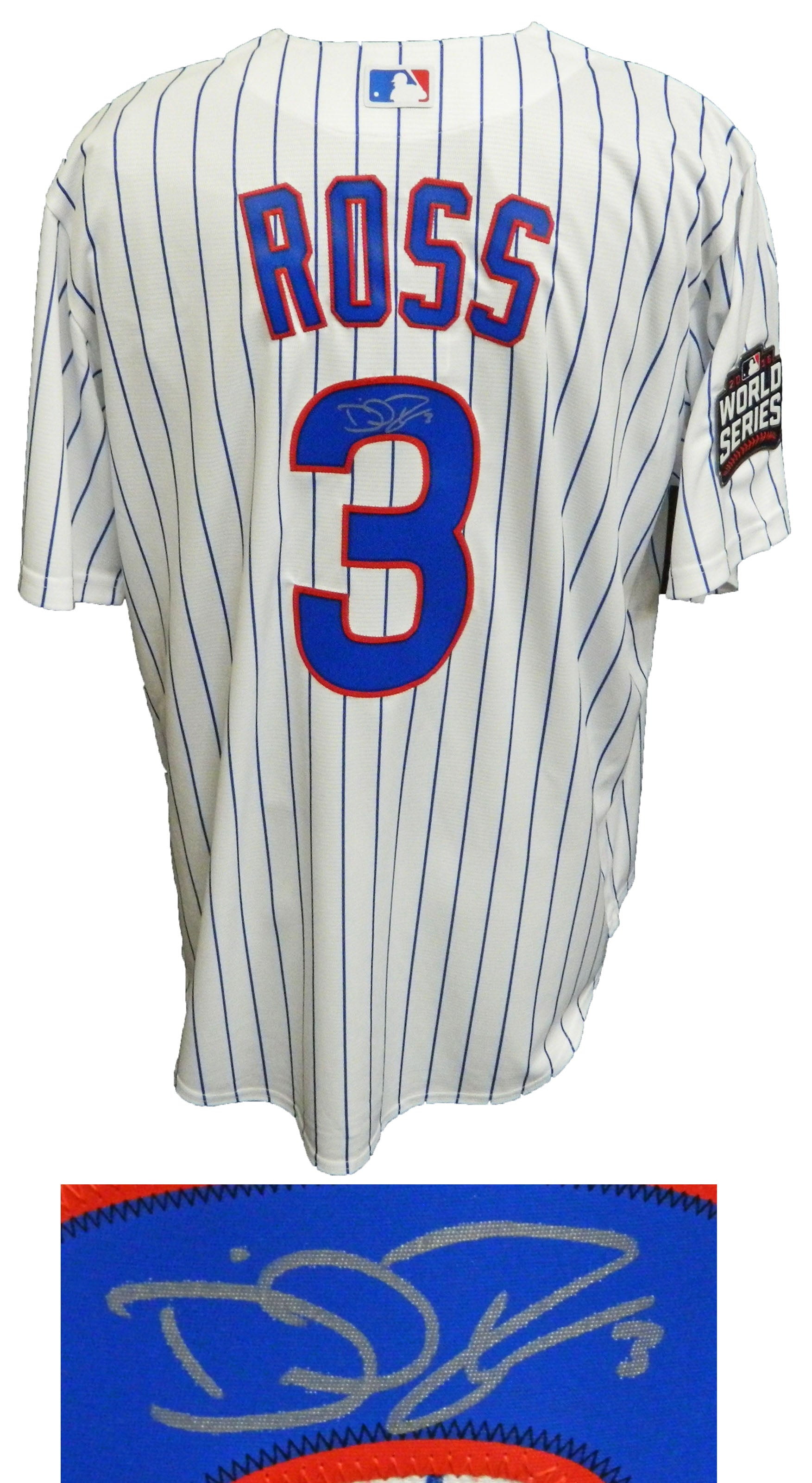 David Ross Signed Chicago Cubs White Pinstripe 2016 World Series Patch Majestic Replica Jersey PSM-Powers Sports Memorabilia